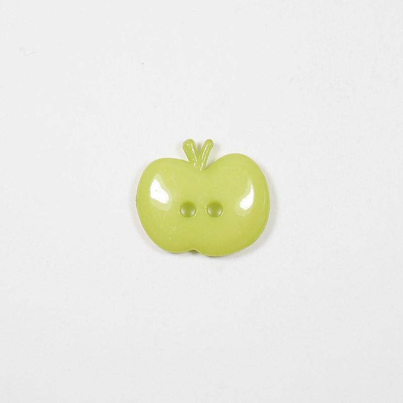 Пуговицы детские Яблоко 15мм 2 прокола салатовый