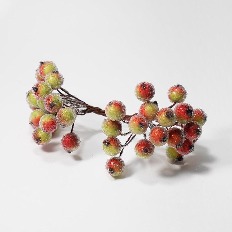 Ягодки на веточке сахарные d-12мм красно-зеленый 40 шт 708-68