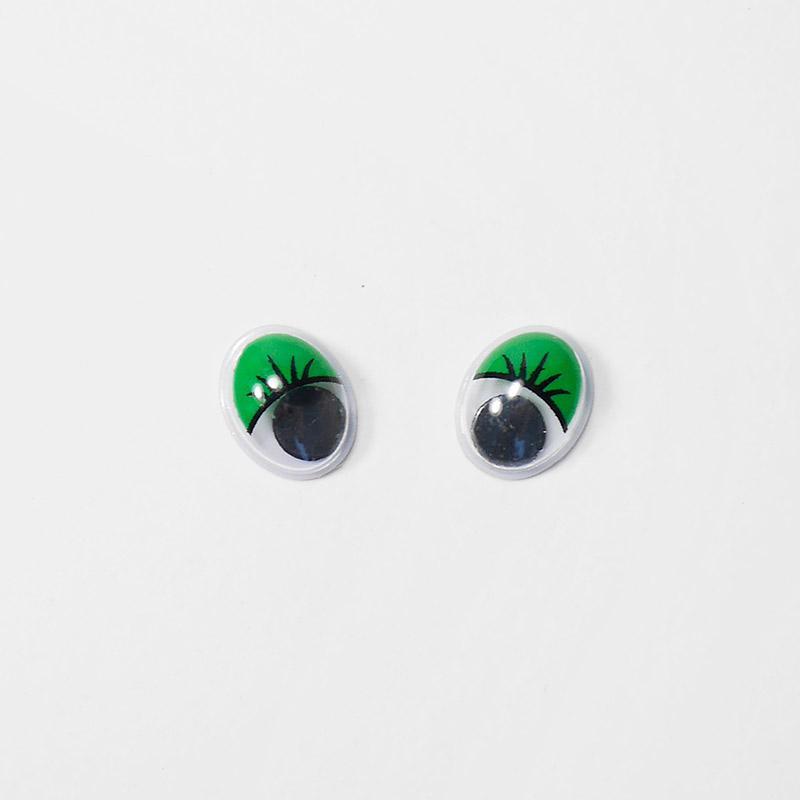 Глазки бегающие 8х10мм овал с ресницами зеленые (О1)