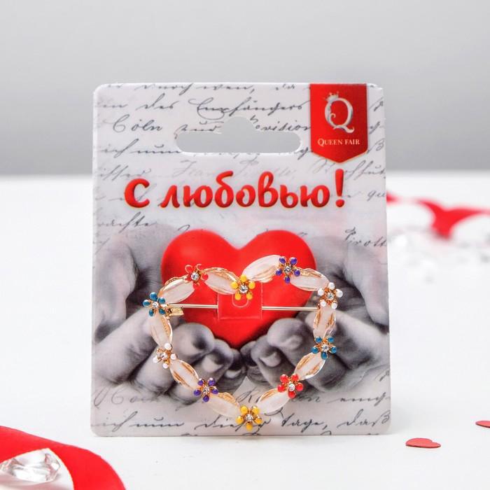 Брошь Сердце с цветочками цветная в золоте 3924033