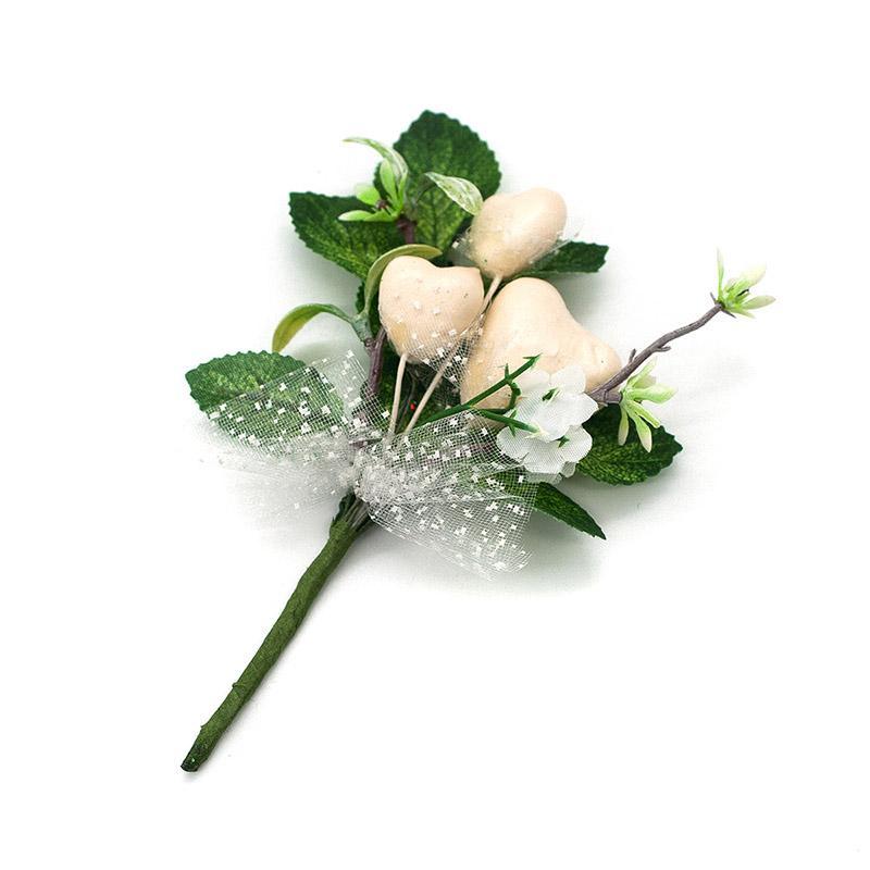Декоративный букетик с белыми сердечками Н31-7228 7714201