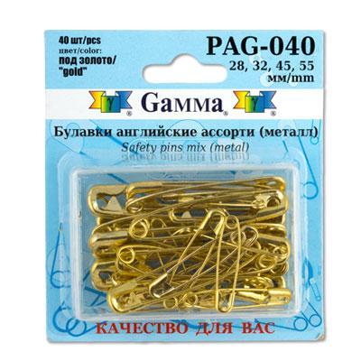 Булавки английские ассорти PAG-040 40шт золото