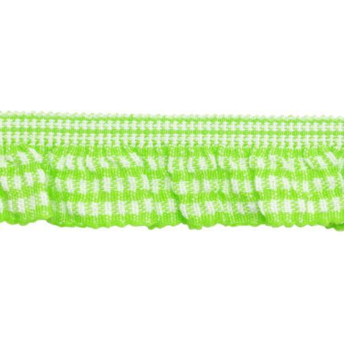 Тесьма-рюш эластичная двухсторонняя 20мм 22,86м зеленый 7723686