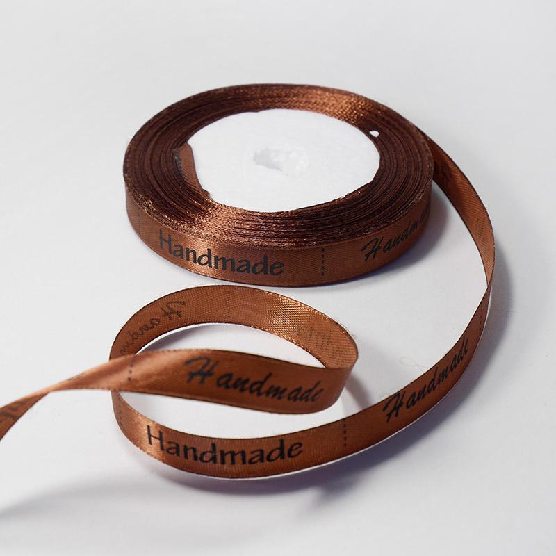 Лента атласная Hand made 1,2см 22,75м 159 т.коричневый