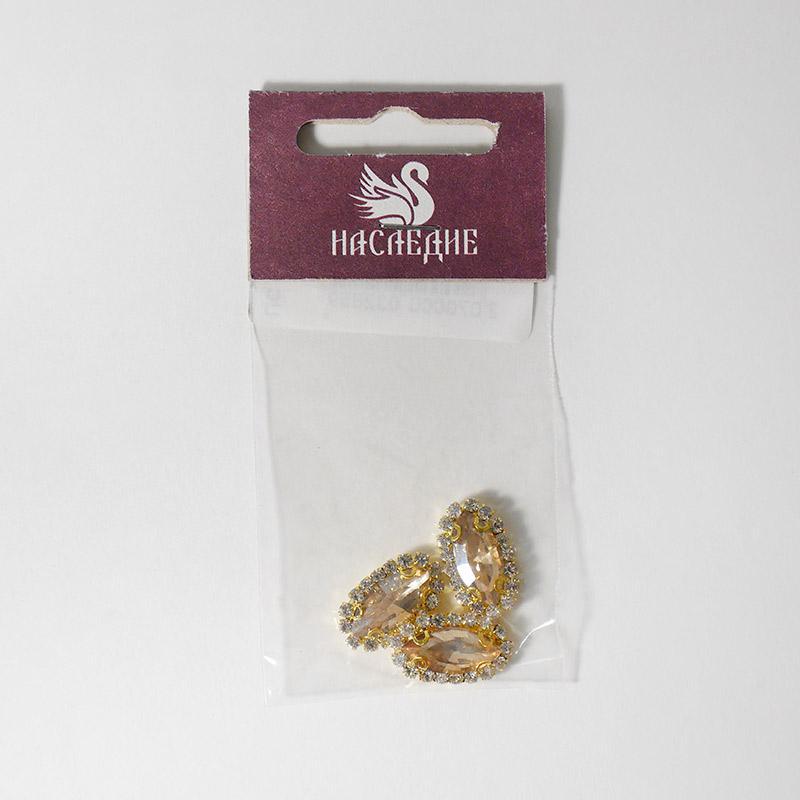 Стразы в цапах (стекло) Лепесток 10х18мм желтый 3шт