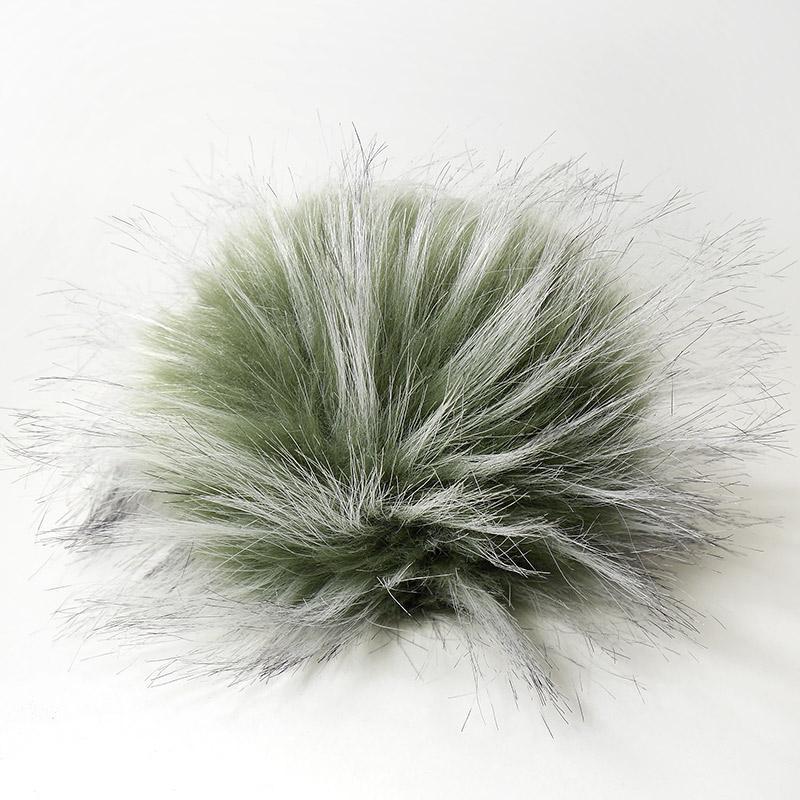 Помпон 13-15см искусственный под енота оливковый-седой