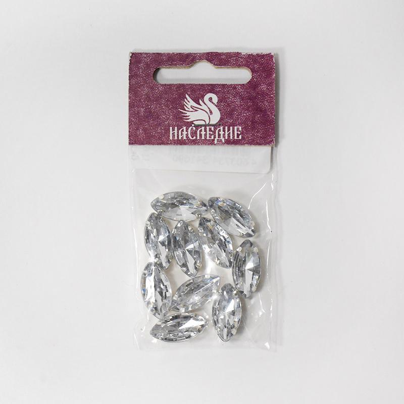 Стразы в цапах Лепесток (пластик) 9х18мм белый 10шт