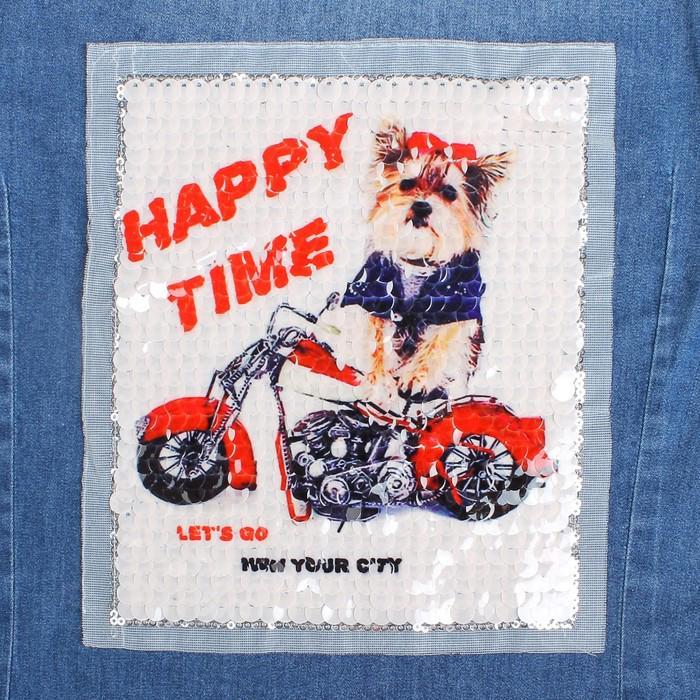 Пришивная аппликация с пайетками Собака на мотоцикле 21.2х18.5см 3785386