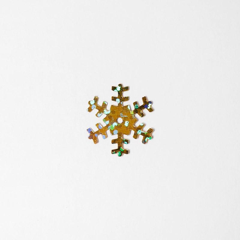 Пайетки Снежинки 1,8см 100г SF-1134 золото 61-90
