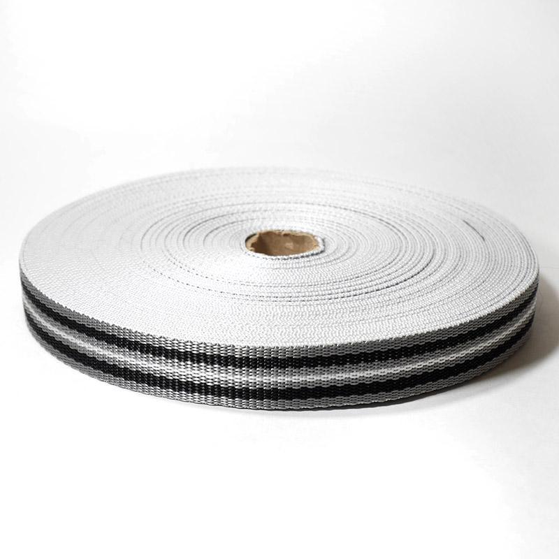Стропа-25-7п С3826 25мм 25м серый/черный/белый 9556/4