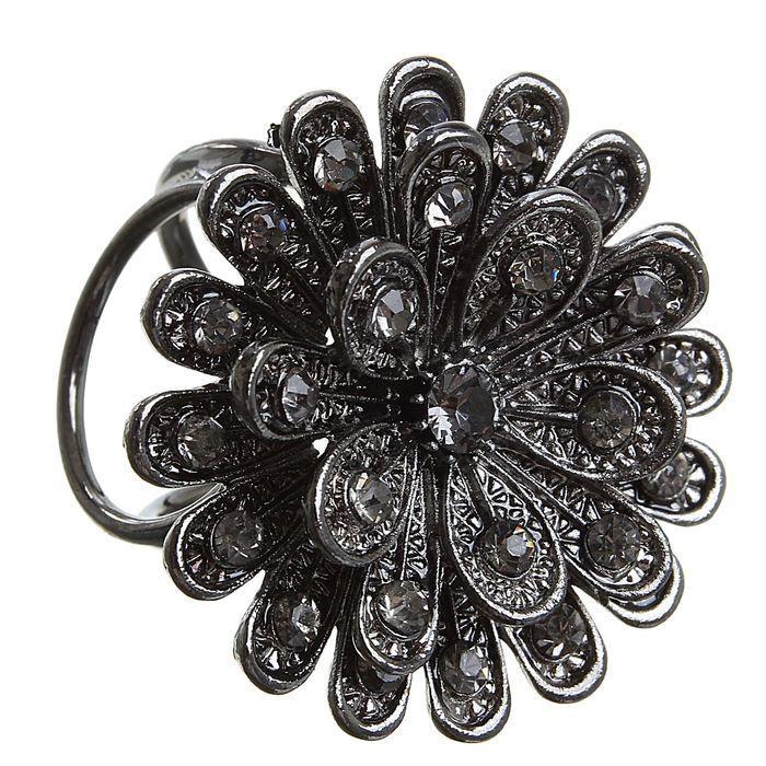 Кольцо д/платка Цветок пион серый 1353801