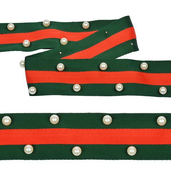Тесьма тканевая рубчик неэластичная Лампас с бусинами РВ8 40мм 13,71м зелено/красный