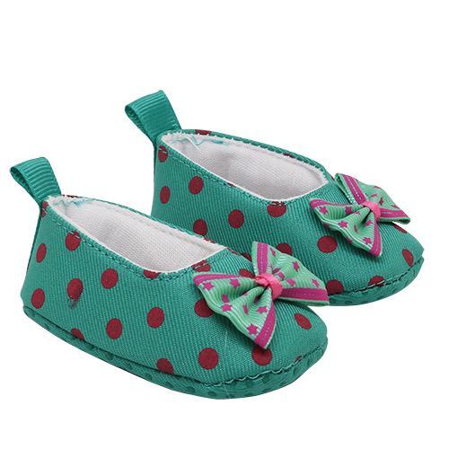 Туфли из ткани в горошек 7,8см, выс.2,5см зеленый 25276