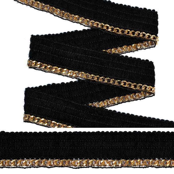 Тесьма с цепочкой TBY SL.TCSB 25мм 21м черный/золото