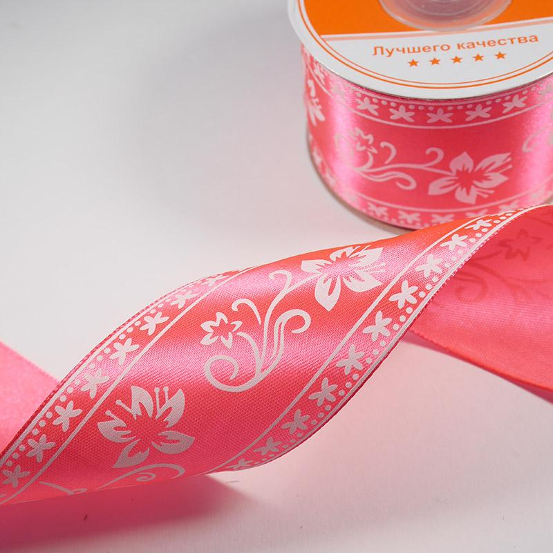 Лента атлас В 1 Печать 50мм №R040 22,5м розовый неон