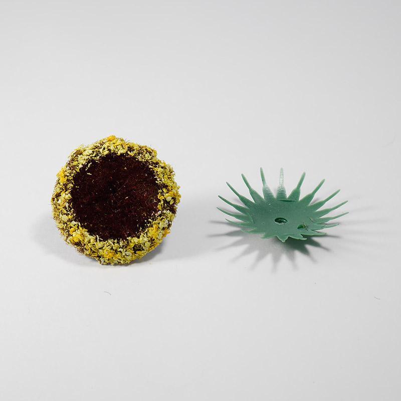 Сердцевина для цветов д-35мм с напылением + пластиковая основа