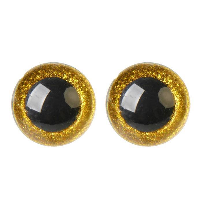 Глазки винтовые с заглушками Блестки 26мм 16шт желтый 4312244
