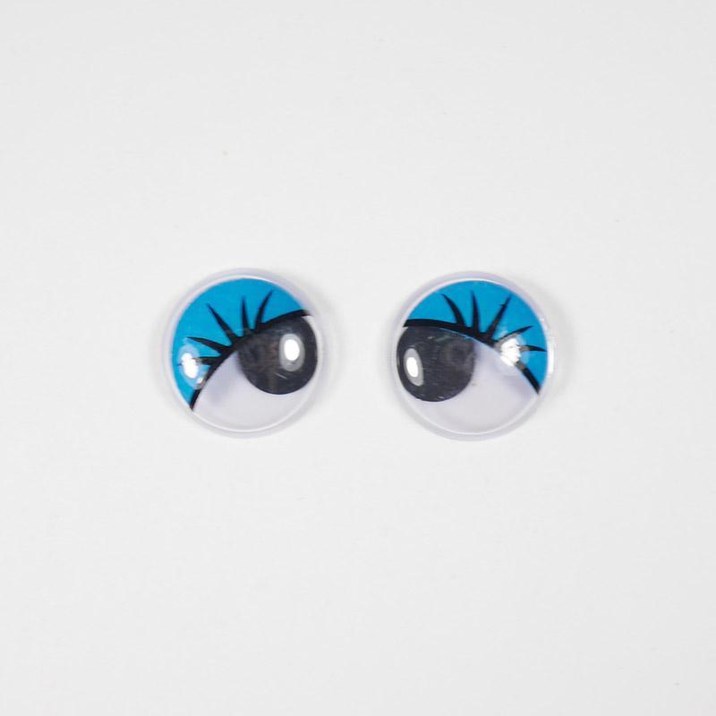 Глазки бегающие клеевые с ресницами 12мм синий (О2)