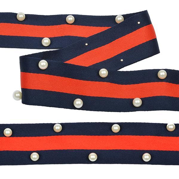 Тесьма тканевая рубчик неэластичная Лампас с бусинами РВ9 40мм 13,71м синий/красный