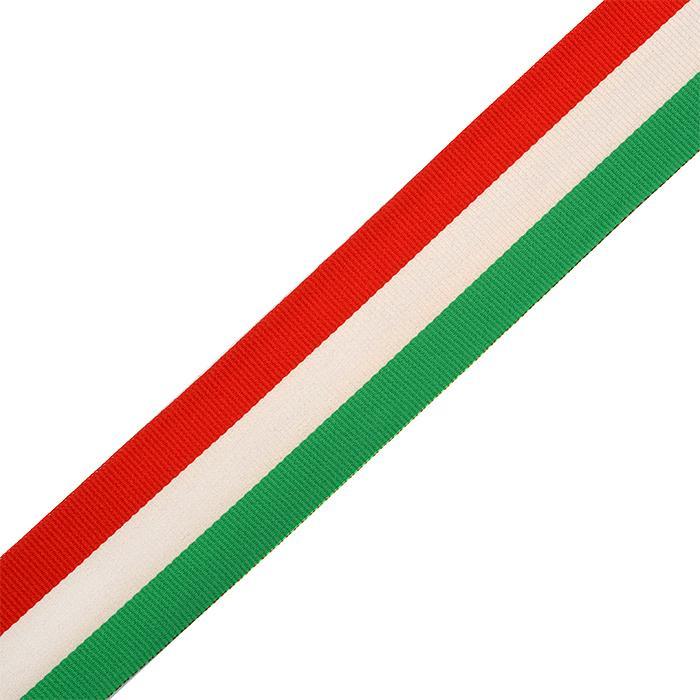 Тесьма тканевая рубчик неэластичная Лампас Ф.4038.1 38мм 50м зеленый/белый/красный