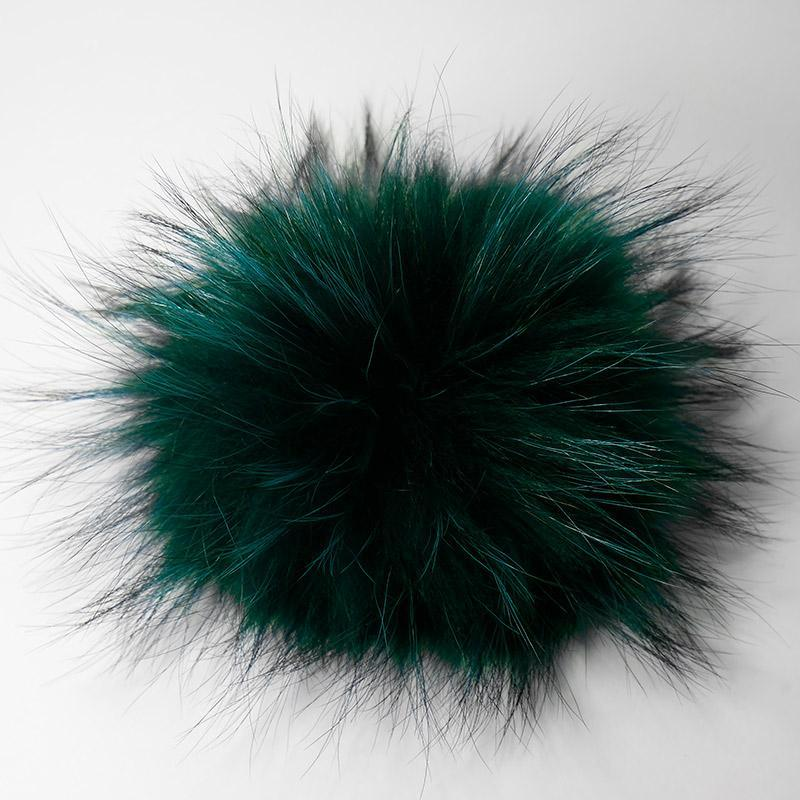 Помпон натуральный енот 15-18см зеленый