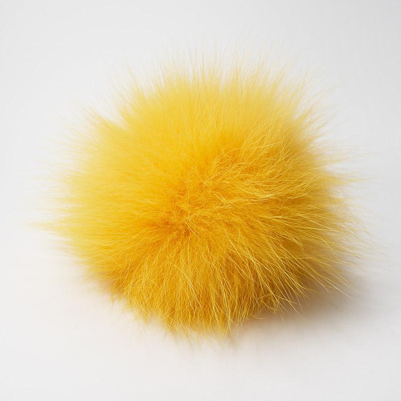 Помпон натуральный песец 12см желтый