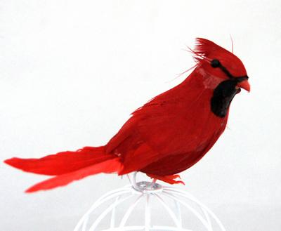Птичка Кардинал 12х6,5см 2шт 24570