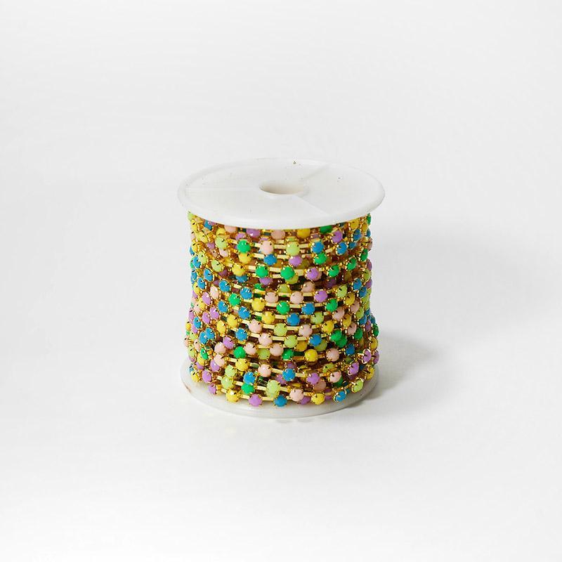 Стразы на бобине матовые 4мм 9,14м SF-1648 разноцветные №4 202-187