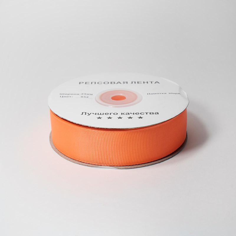 Лента репсовая 25мм 27.43м 052 оранжевый неон