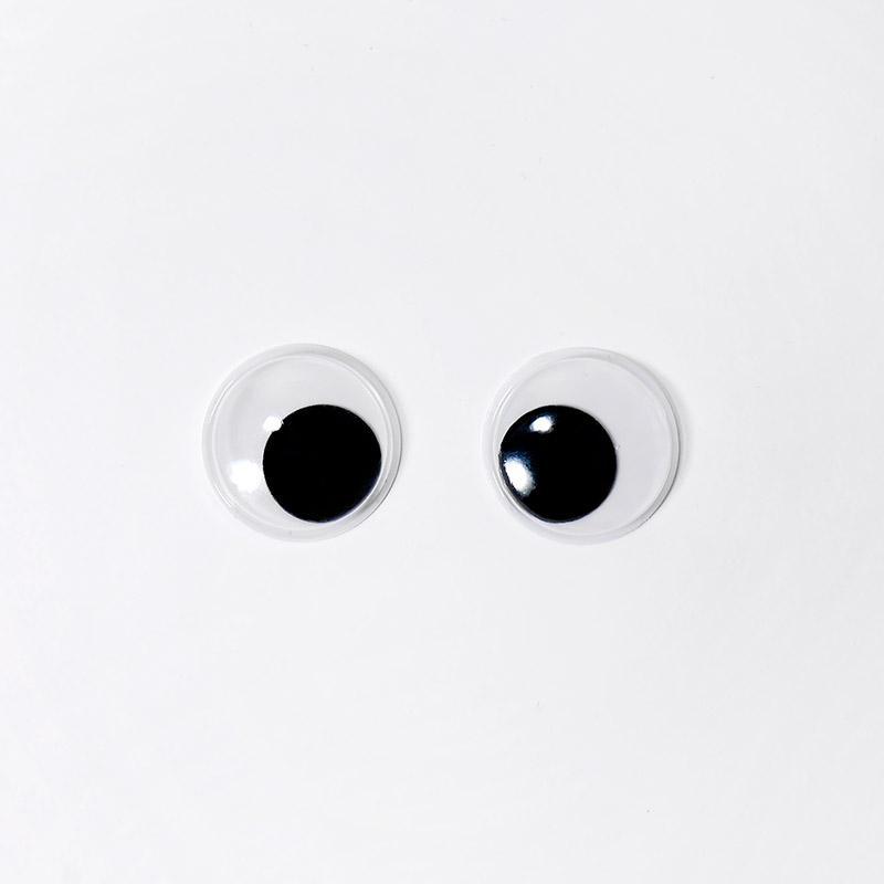 Глазки бегающие клеевые 20мм черный (О2)