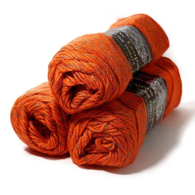 Пряжа  Белый Леопард 508 - оранжевый меланж