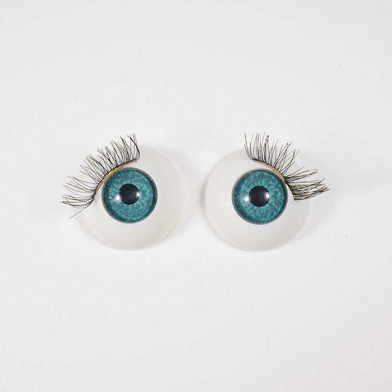 Глазки TR-22 круглые с ресничками 22мм, бирюзовые (О1)