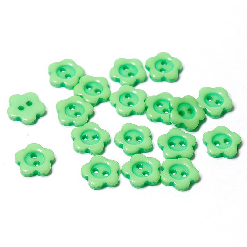 Пуговицы мини 10мм цветок пластик на 2 прокола 18шт зеленый 27334