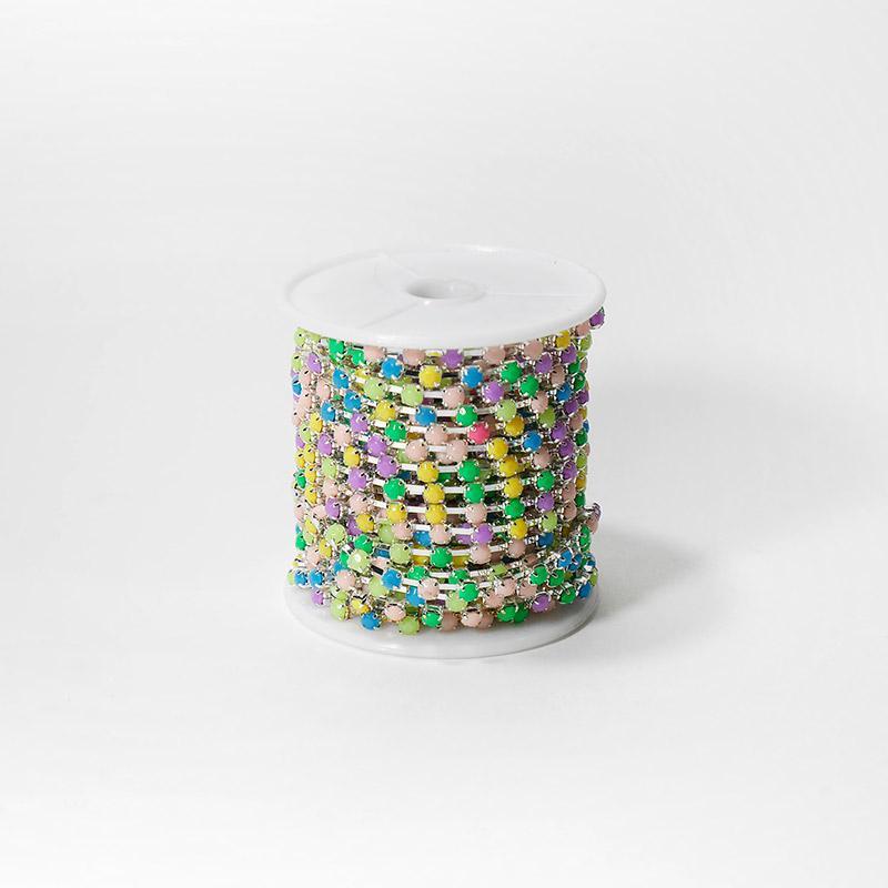Стразы на бобине матовые 4мм 9,14м SF-1648 разноцветные №1 202-184