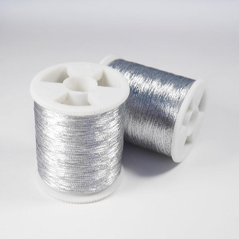 Нитки металлизированные серебро 200м