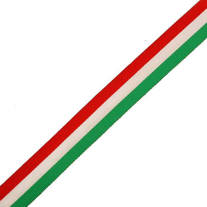 Тесьма тканевая рубчик неэластичная Лампас Ф.4025Р.3 25мм 50м красный/белый/зеленый
