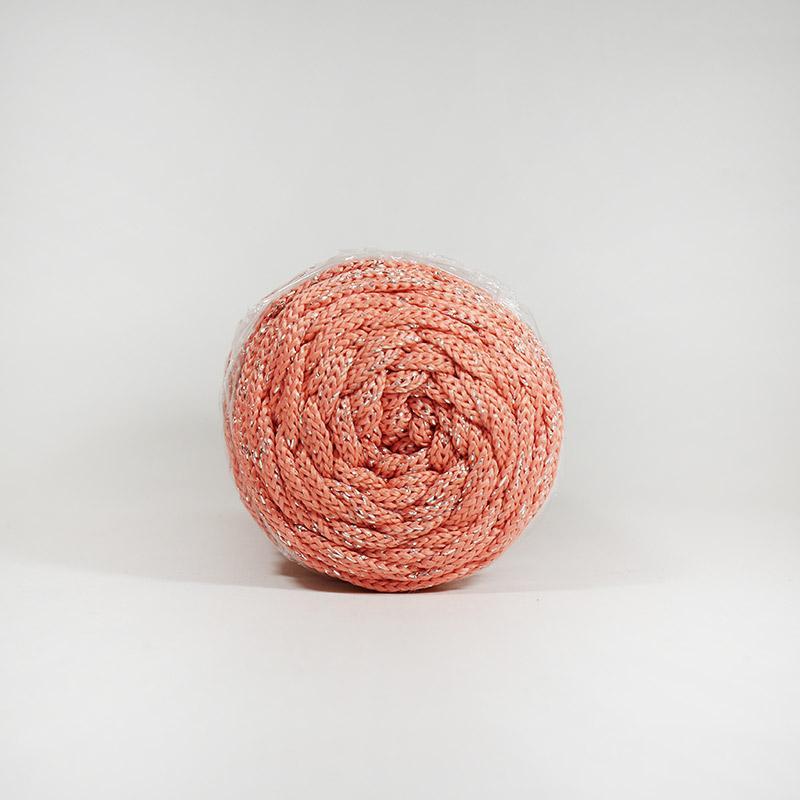 Шнур без сердечн 4мм №78 100м полиэфир корал с сер люрексом