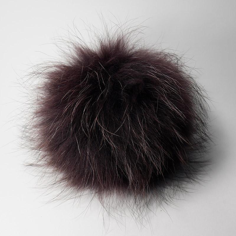 Помпон натуральный енот 15-18см фиолетовый