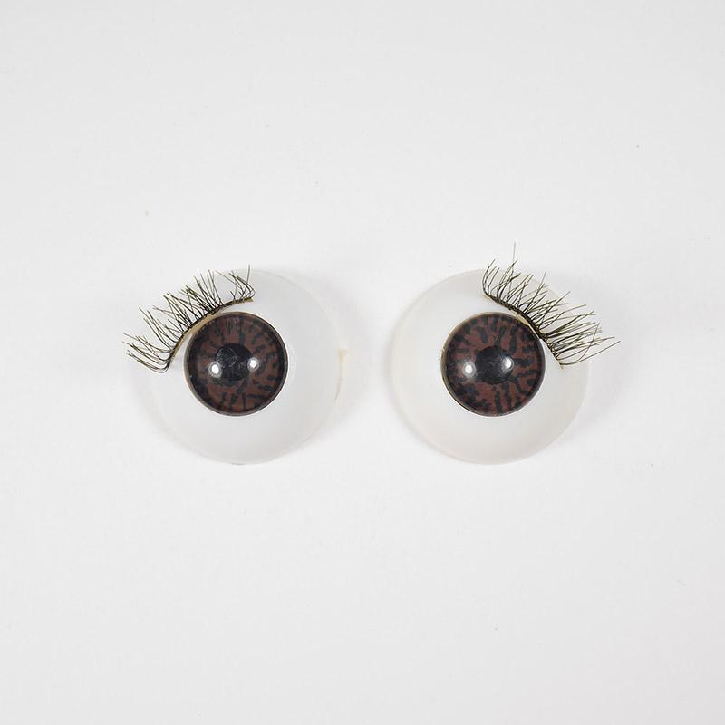 Глазки TR-22 круглые с ресничками 22мм, карие (О1)