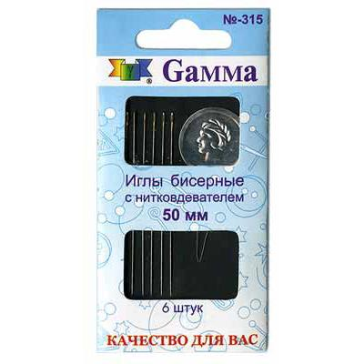 Иглы бисерные Гамма №50 N-315 6шт с нитковдеват.