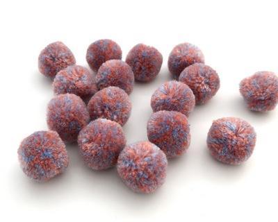Помпоны мраморные 20мм 16шт розовый-голубой 25493