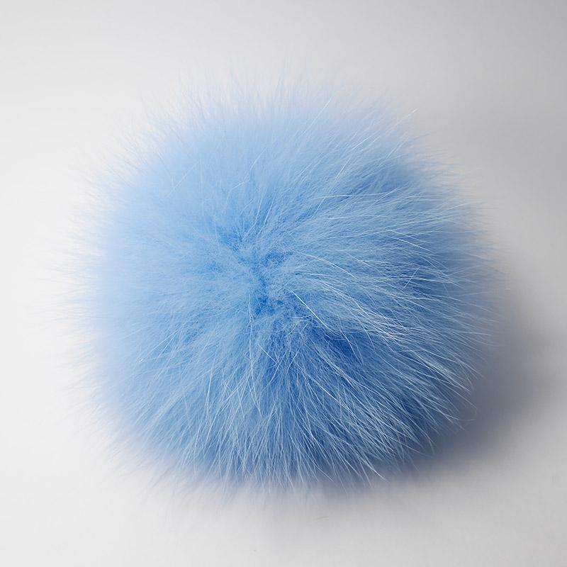 Помпон натуральный песец 12см голубой