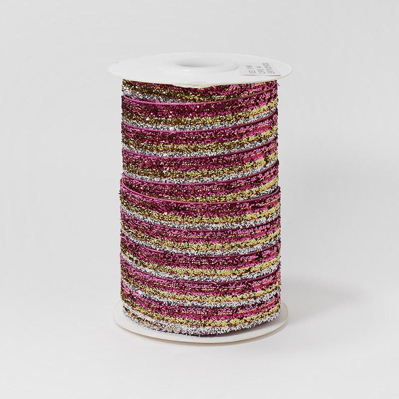 Лента бархатная металлизированная 10мм 22.86м 44 розово-золотой меланж