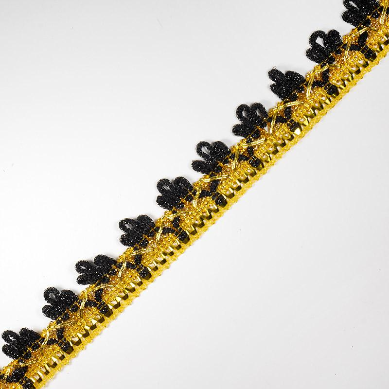 Тесьма металлизир. №3038 30мм 16,5м золото/черный