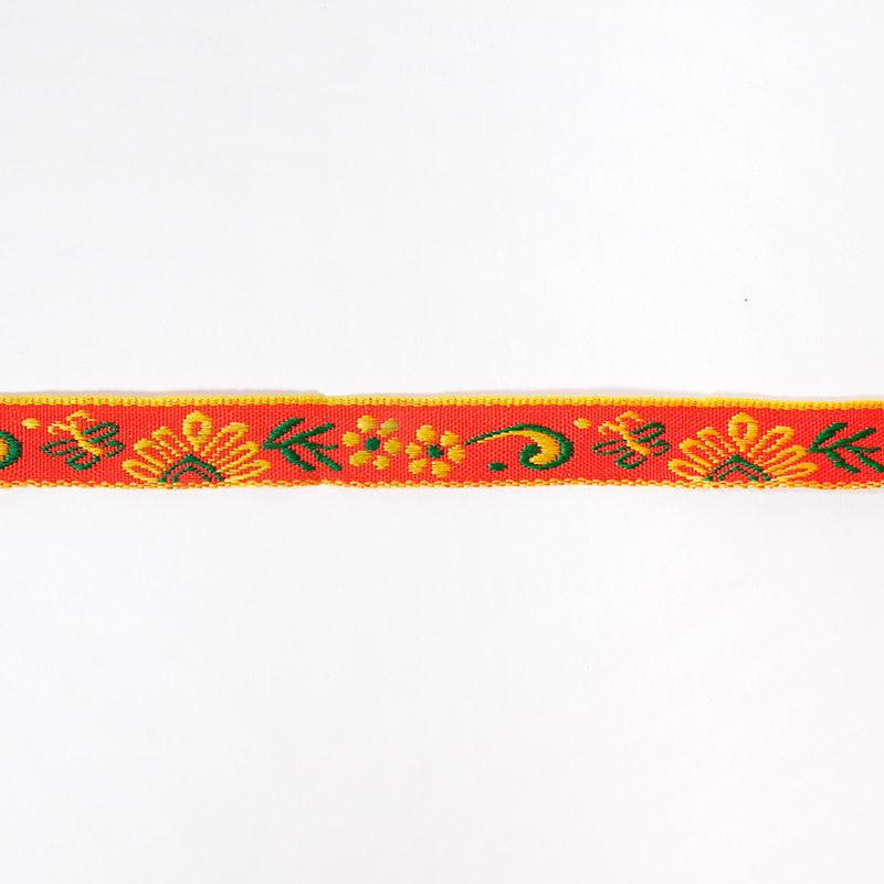 Тесьма жаккард 12мм 7м рис. 28 красный/желтый