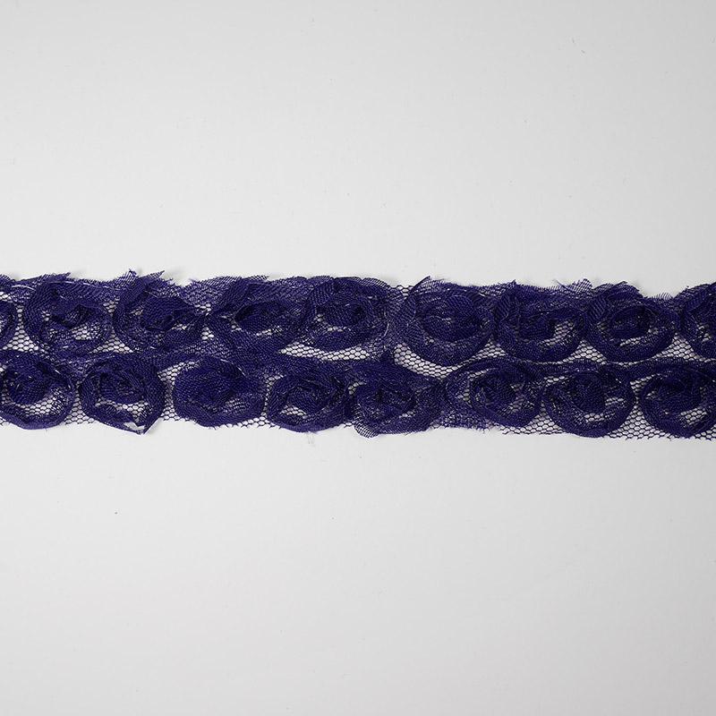 Тесьма Роза 10мм на сетке 30мм 1м фиолетовый