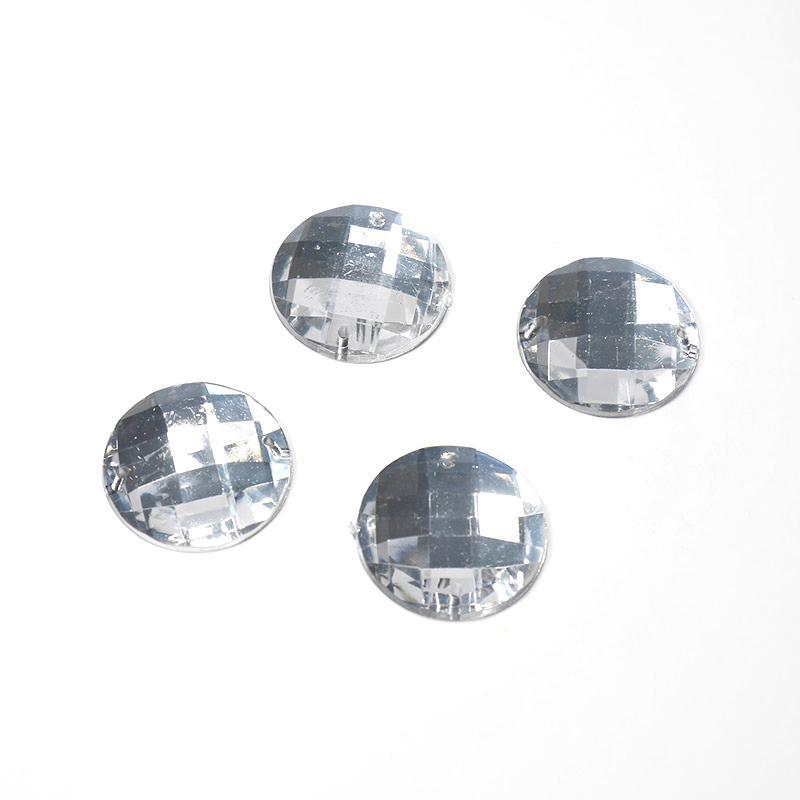 Стразы пришивные Круг 22мм 50шт серебро