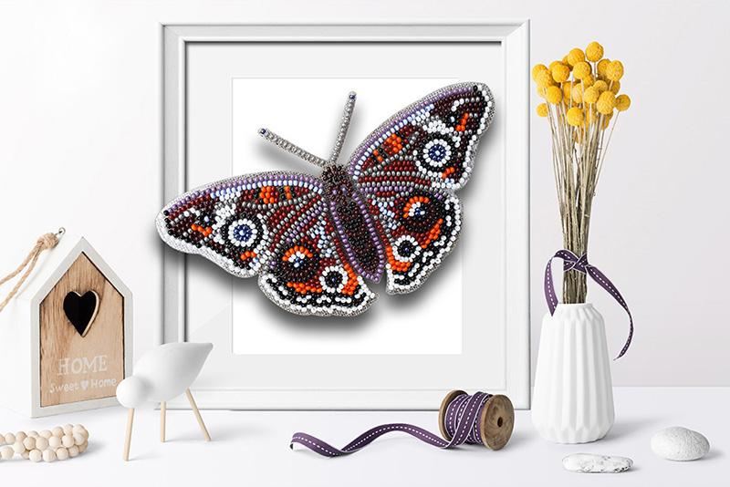 б-003 Набор для вышивания бисером 3-D Бабочка Прецис Лавиния 9,5х13,5см