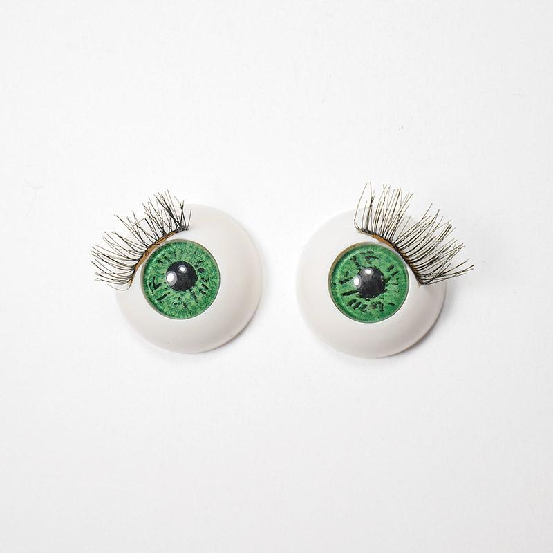 Глазки TR-22 круглые с ресничками 22мм, зеленые (О1)