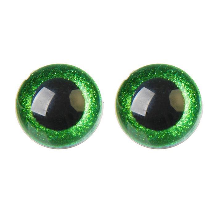 Глазки винтовые с заглушками Блестки 30мм 10шт зеленый 4312253